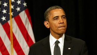 President Obama pictured after after speaking at a vigil held for the victims of the Sandy Hook Elementary School shooting