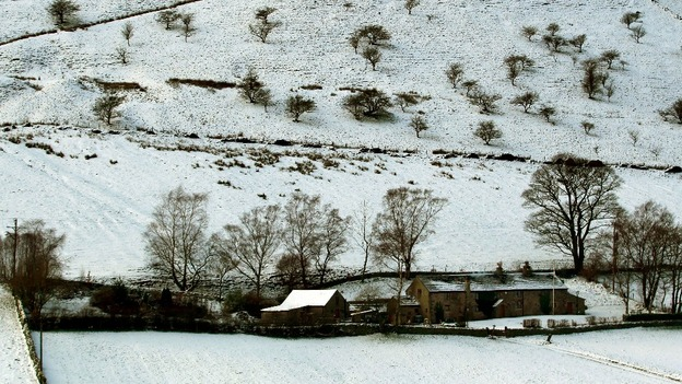 A farm house surrounded by snow in Derbyshire