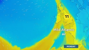 Mild pocket of air over the UK to start the week