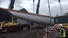 The giant hull is rolled over