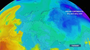 Tuesday 20th Feb - Very cold over Russia and Eastern Europe