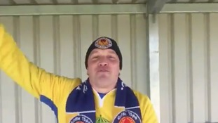 Non-league 'superfan' who spent entire match chanting on his own becomes online sensation