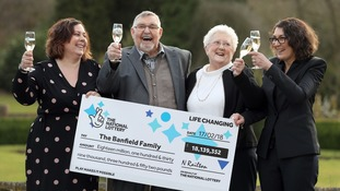 Lottery winners who scooped £18m jackpot say 'We played to help our daughters'