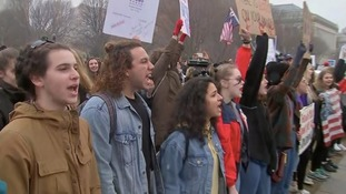 Students chanting 'shame on you' outside the White House earlier this week