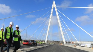 The 1,550-tonne Northern Spire bridge  stands twice as high as Nelson's Column and taller than Big Ben's clock tower