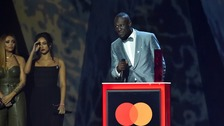 Croydon rapper Stormzy collecting his Brit award