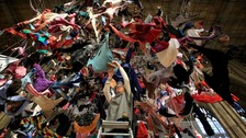 Artwork from clothing of refugees suspended in mid-air