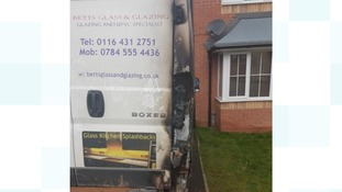 The damage done to the van as a result of the fire