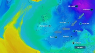 Next week intense cold air moves in from Russia