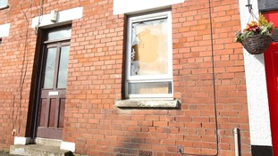The damage at the house in the Railway Street area of Ballymena where a petrol bomb hit the house