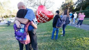 Students outside the Marjory Stoneman Douglas High School where Nikolas Cruz killed 17 people