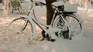 Bike in the snow at Yaxham near Dereham, Norfolk