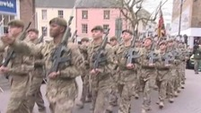 Troops marching through Carmarthen