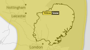The whole of the Anglia region is covered by the yellow weather warning for snow on Wednesday.