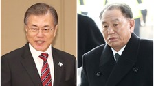 South Korean President Moon Jae-in (left) and Kim Yong-chol, North Korea's chief delegate to the Winter Olympics.