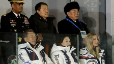 South Korean President Moon Jae-in (front left) has met with Kim Yong-chol (back right), North Korea's chief delegate to the Winter Olympics