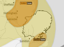 The snow warning has been updated from yellow to amber in parts of the Anglia region on Tuesday.