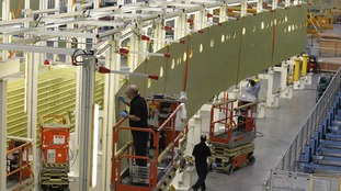 Work on Airbus wings is carried out at the Broughton factory