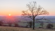 Sunset on Dunstable Downs on Sunday evening