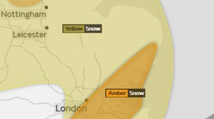 The Met Office has issued amber and yellow warnings of snow for the East of England.
