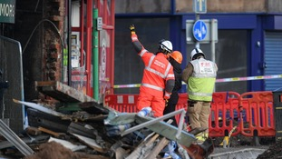 Emergency services continue to work at the scene of the blast at Hinckley Road.