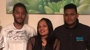 Mary Ragoobar, 46, and her two sons Shane, 18, and Sean, 17