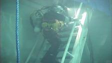 A specialist diver goes underwater