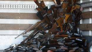A small portion of guns that were turned in by their owners in LA in an amnesty after Sandy Hook
