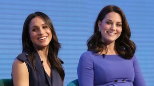 Meghan Markle with the Duchess of Cambridge at the first annual Royal Foundation Forum in London
