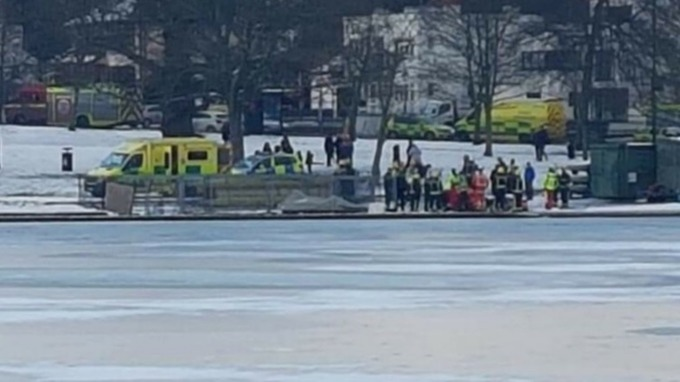 A man died in London after he was pulled from a freezing lake on Wednesday.