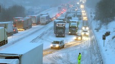Drivers faced a night in their vehicles on the M80 in Scotland after heavy snow hit.
