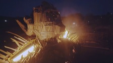 The Wicker man centre pieces erupts in flames when the carriages race through