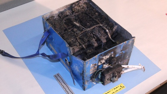 Burned power unit battery from a Boeing 787