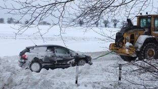 A car being rescued at Cantley