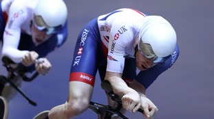 Ed Clancy in traiing with teammates from the GB Cycling men's endurance team