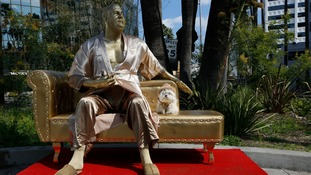 Harvey Weinstein 'casting couch' statue unveiled in Hollywood