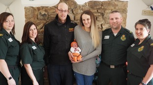 The family were reunited with the paramedic team who helped them.