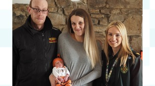 'She's definitely not pregnant. Oh, wait...': Baby boy makes surprise arrival after parents call 999 for 'stomach pain'