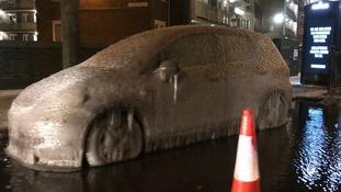 Car in Tower Hamlets left encased in ice
