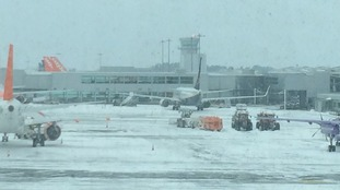 Bristol Airport say they are working to reopen the runway following disruption caused by Storm Emma.
