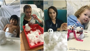 Young patients get chance to make make snowmen from their hospital beds
