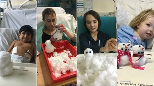 Children got the chance to build snowmen from their hospital beds.