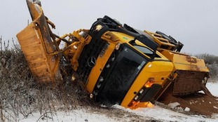 The gritter overturned on the A379
