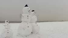 The beach snowmen at Lowestoft