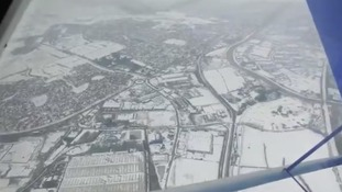 Somerset from the air as the snow begins to thaw