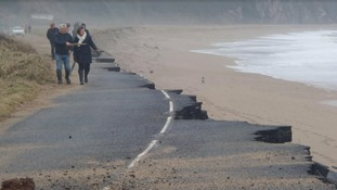 The A379 at Slapton is closed... you can see why!