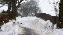 Snow blocking a road in Ecclefechan