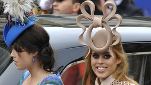 Princess Beatrice with her sister in 2011 at the wedding of the Duke and Duchess of Cambridge