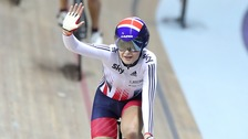 Ellie wins the Elite Championship Women Scratch Race at the National Cycling Centre, Manchester