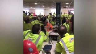 Staff at the sit in at the Hinkley site